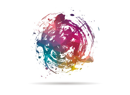 ink stain: low poly icon colorful ink stain
