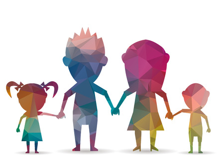 diamond shape: low poly family with children Illustration