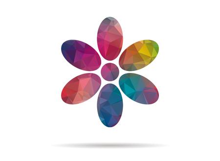 petals: low poly icon colorful flower petals