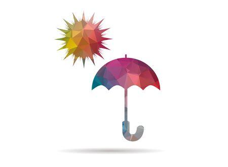 sonnenschirm: low poly sun umbrella colorful icon