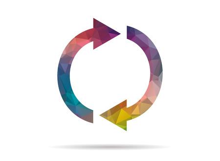 flèche double: low poly coloré double flèche icône Illustration