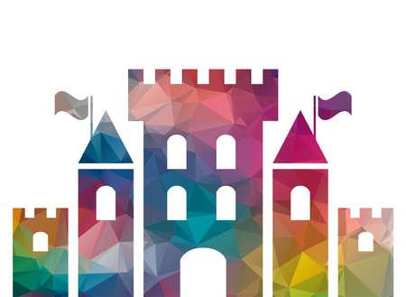 fantasy castle: low poly colorful fantasy castle