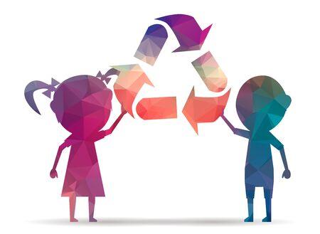 niños reciclando: niños poli símbolo de reciclaje