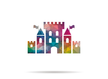 low poly castle icon Illustration