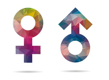 lage poly mannelijk en vrouwelijk pictogram
