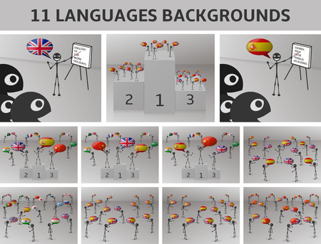 bilingual: set 11 languages backgrounds