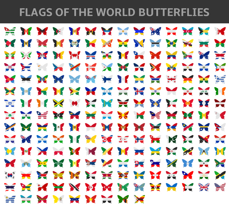 world flags: flags of the world butterflies Illustration
