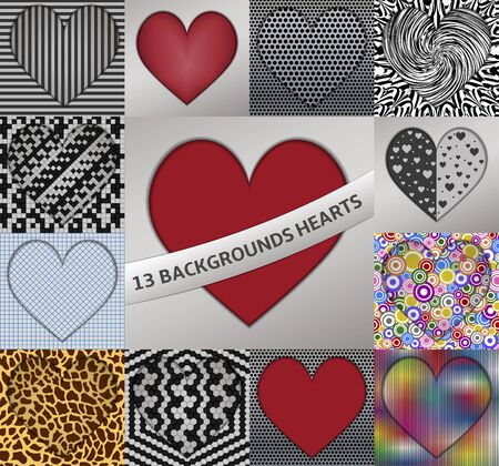 13: 13 backgrounds hearts Illustration