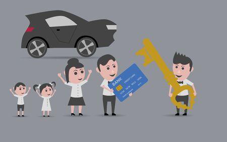 woman credit card: family car buying Illustration