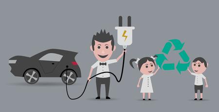 niños reciclando: Hombre con el coche eléctrico y los niños con el símbolo de reciclaje