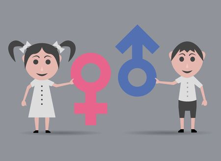 boy and girl with male and female icons Illustration