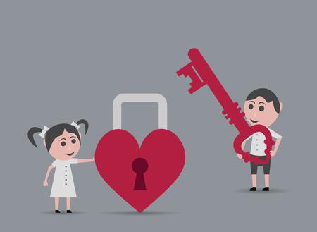 key in lock: boy key lock heart girl