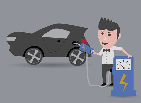 refueling: man refueling electric car