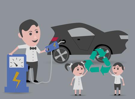 niños reciclando: hombre de reabastecimiento de combustible de coches eléctricos y los niños tomados de símbolo de reciclaje