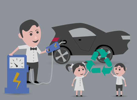 refueling: man electric car refueling and children holding recycling symbol