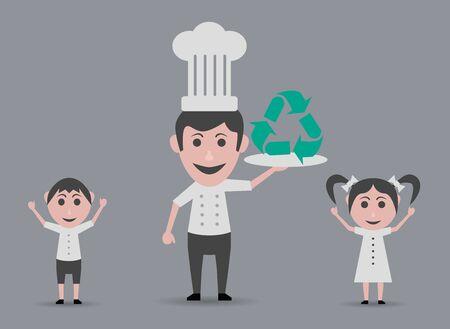 niños reciclando: Cocinero con el símbolo de reciclaje y niños felices Vectores