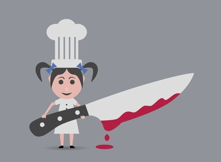 girl with knife: chef girl with knife Illustration