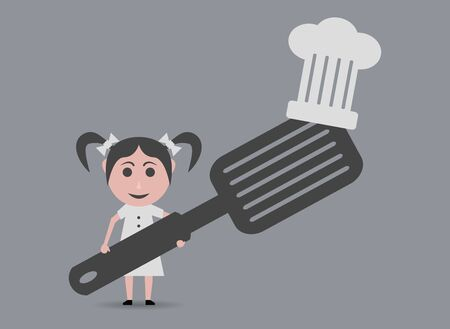 girl chef with spatula Illustration