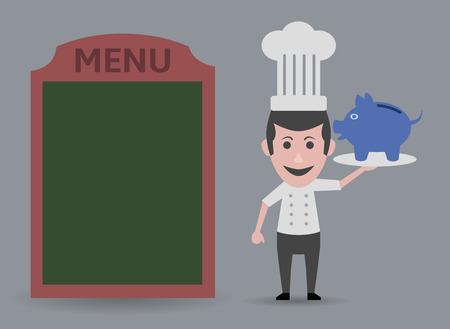 board room: chef showing economic menu Illustration
