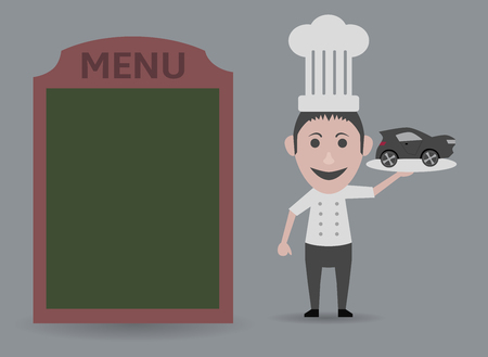 home delivery: chef showing menu with home delivery Illustration