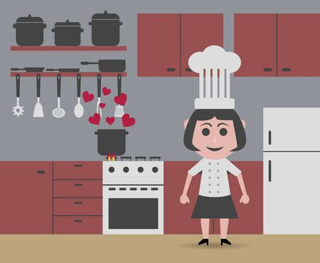 cheap chef cooking Illustration