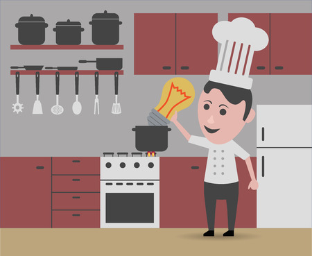 slotted: chef creating new recipes Illustration