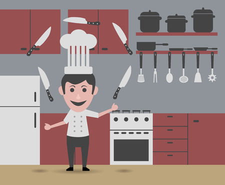 slotted: chef juggling knives