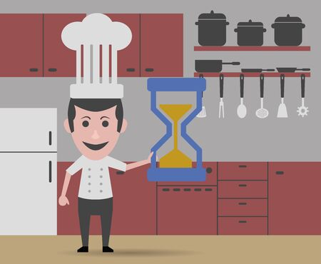 too fast: chef cooking too fast Illustration