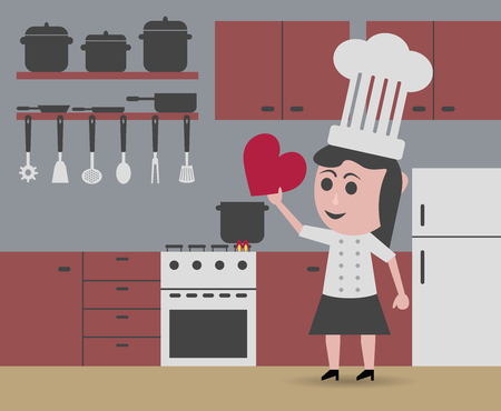 slotted: chef woman cooking with love