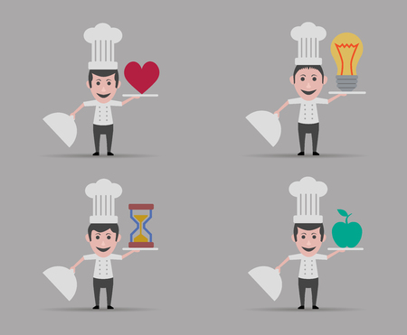 heart health: chef set of four men Illustration