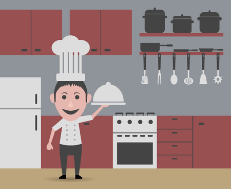 slotted: chef serving tray Illustration