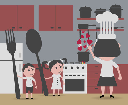 begging: woman cooking and children begging for food Illustration