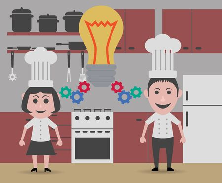 inventing: two chefs inventing a new recipe Illustration