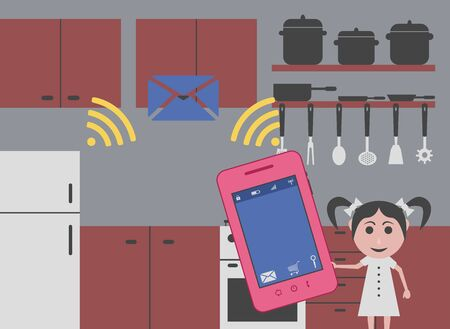 smart girl: girl driving smart kitchen with mobile