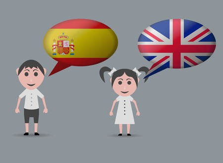 english girl: girl speaking english and spanish speaking child Illustration