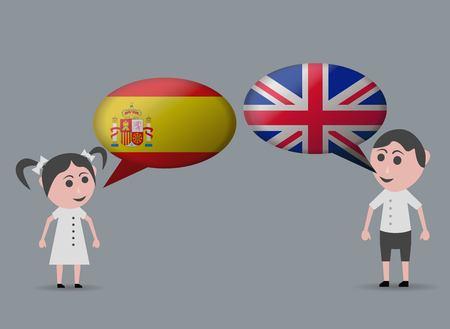english girl: girl speaking spanish and english speaking boy