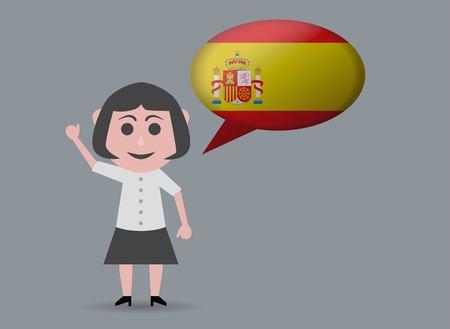 spanish woman: doll woman speaking spanish Illustration