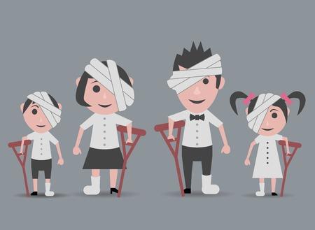 dolls family happy sick people Illustration
