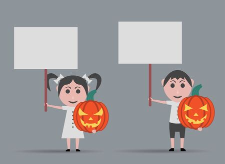 girl and boy dolls with pumpkins and banners