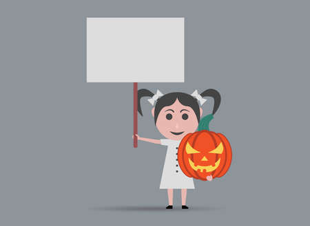 fille poup�e: girl doll pumpkins and banners Illustration