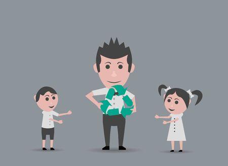 niños reciclando: padre muñeca dar a los niños de reciclaje símbolo