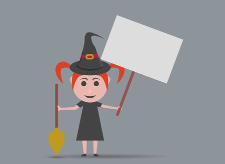 girl dressed as a witch with banner