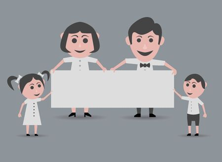 happy family holding doll poster