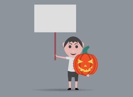 tout: boy doll pumpkins and banners Illustration