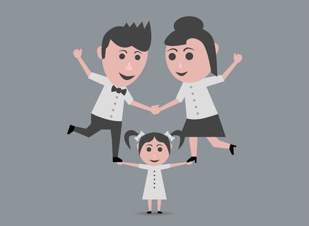 raising: girl raising father and mother Illustration