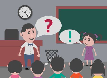 answering: teacher asking and answering girl