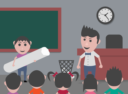 highschool: boy in class with giant chalk Illustration