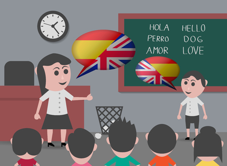 boy talking to bilingual teacher  イラスト・ベクター素材