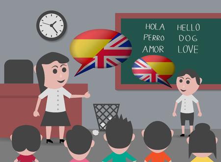 jongen praat met tweetalige leerkracht Stock Illustratie
