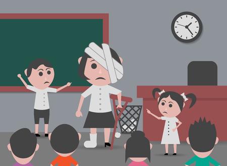 maltrato infantil: mistreating children teacher in class Vectores